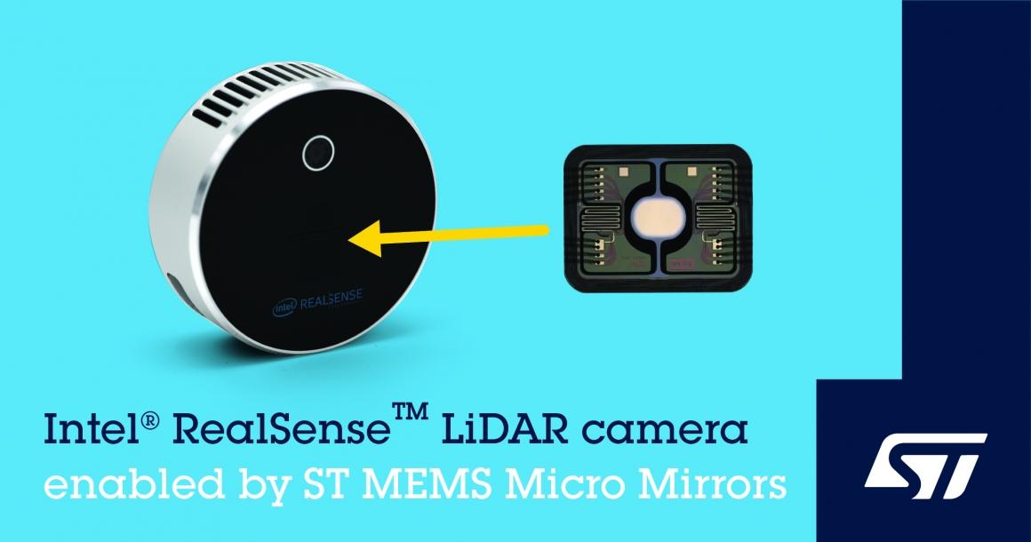 ST新聞稿2021年3月25日——意法半導體世上最小的微鏡掃描技術助力英特爾Intel® RealSense™高解析度LiDAR深度攝像頭L515