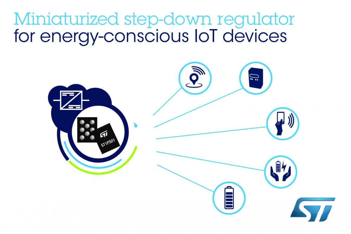 ST新聞稿1月31日——意法半導體納米靜態電流、高能效降壓轉換器為物聯網設備節省電能和空間