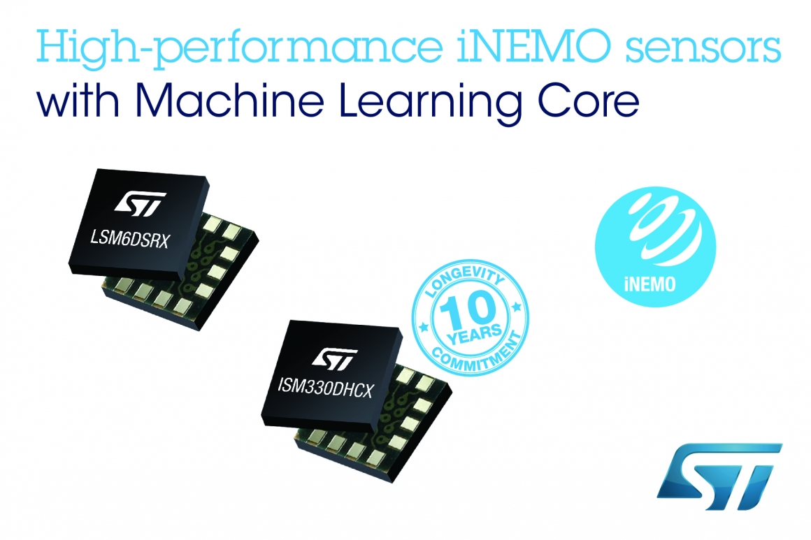ST新聞稿2020年3月13日——意法半導體推出高級iNEMO感測器,為工業和消費應用增添機器學習內核的能效優勢
